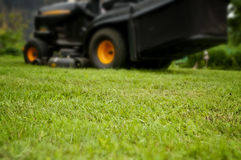 Mowing grass, tractor in the background, depth of focus Stock Photos