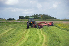 Mowing the Hay in a Road Ditch Stock Images