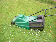 Mowing the lawn. With the mower machine Stock Photography