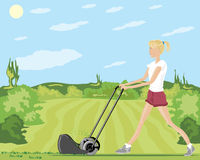 Mowing the lawn. A hand drawn illustration of a woman wearing red shorts and a white tee shirt mowing the lawn in summer with shrubs and trees under a blue sky Stock Photo