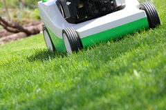 Mowing the lawn. By green lawnmower Royalty Free Stock Image