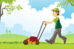 Mowing lawn. A vector illustration of a man mowing the lawn Stock Image