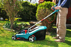 Mowing the lawn Stock Images