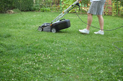 Mowing the Lawn in Garden Royalty Free Stock Photography