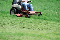 Mowing the lawn. In summer Royalty Free Stock Photo