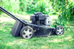 Mowing lawns, Lawn mower on green grass, mower grass equipment, stock image
