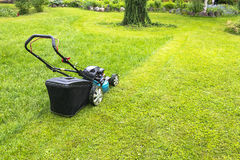 Mowing lawns, Lawn mower on green grass, mower grass equipment, mowing gardener care work tool, close up view, sunny day Stock Images