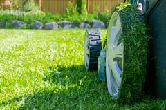 Mowing lawns. Lawn mower on green grass. Mower grass equipment. Mowing gardener care work tool. Close up view. Sunny day. Soft lig. Htning stock photography