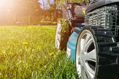 Mowing lawns, Lawn mower on green grass, mower grass equipment, mowing gardener care work tool, close up view, sunny day. Soft lig. Htning stock photos