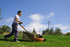 Mowing the meadows royalty free stock image