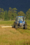 Mowing pasture. Tractor mowing pasture for silage, West Coast, South Island, New Zealand Stock Image