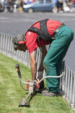 Mowing worker (Piazza Venezia - Roma) Royalty Free Stock Image