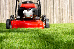 Mowing Yard. Mowing green grass on a sunny spring day, with new lawnmower Royalty Free Stock Photo