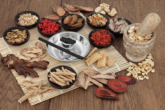 Moxa Sticks and Chinese Herbs Royalty Free Stock Images