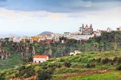 Moya, Gran Canaria. Clifftop town skyline with church stock photos