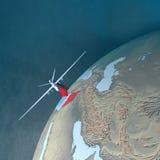 Moyen-Orient comme vu de l'espace, bourdon Images stock