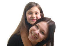 Moyher and daughter. The portrait of happy family (mother and daughter Stock Photos