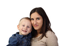 Moyher and son on white. Motherhood and son's love - Little boy and black haired women isolated on white background Royalty Free Stock Images
