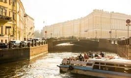 Moyka河的堤防的看法在圣彼德堡 免版税库存图片