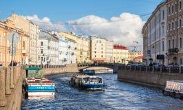 Moyka河的堤防的看法在圣彼德堡 库存图片