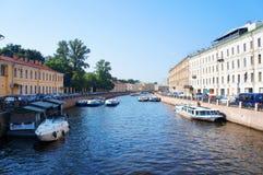 Moyka flod i Stet Petersburg Arkivfoto