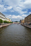 The Moyka River Embankment panorama towards Red Bridge. Saint Petersburg, Russia. Royalty Free Stock Images