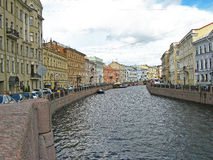The Moyka river, St. Petersburg. Beautiful buildings on the Moyka river embankment. Saint Petersburg, Russia Stock Photo