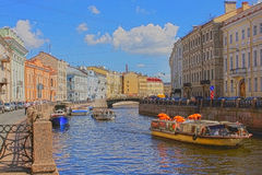 Moyka River in St. Petersburg, Russia. HDR Royalty Free Stock Photography