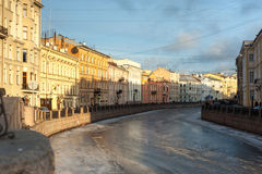 Moyka river at St.Petersburg. Moyka river under the ice. Winter St.Petersburg, ex-capital of Russian Federation royalty free stock photography