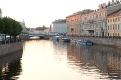 Moyka River in summer day. Stock Photo