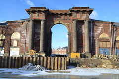 Water Gate of New Holland island at winter. Moyka river. Water Gate of New Holland island at winter. St.Petersburg royalty free stock photo