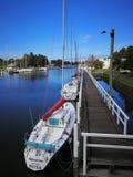 Port Fairy Australia. Moyne River with yacht Royalty Free Stock Image