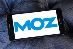 Moz software company logo. Logo of Moz software company on samsung mobile. Moz is a software as a service SaaS company based in Seattle that sells inbound stock photo