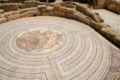 Mozaïek bij huis Theseus - Paphos, Cyprus stock foto's