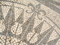 Mozaïek in een Portugese stoep Royalty-vrije Stock Foto