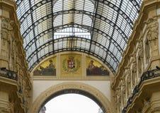 Mozaïek in Galleria Vittorio Emanuele II het oudste winkelcomplex in van Milaan, Italië royalty-vrije stock fotografie