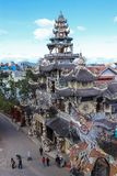 Mozaïek Linh Phuoc Pagoda in DA Lat, Vietnam stock fotografie