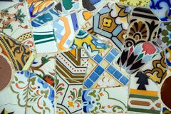 Mozaïek in Park Guell (Barcelona, Spanje) Stock Afbeelding
