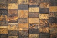 Mozaïek van grunge houten blokken stock foto's