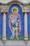 Mozaïek van Heilige George op voorgevel van een kerk Royalty-vrije Stock Foto