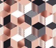 Mozaïek van luxe het geometrische vormen in roze gouden, grijs, wit stock illustratie