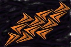 Mozaïek van Metaal Oranje Pijlvormen op Zwarte Nevelachtergrond - Behang vector illustratie