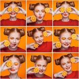Mozaïek van vrouw met sinaasappel en make-up en kapsel die verschillende emoties uitdrukken Royalty-vrije Stock Fotografie