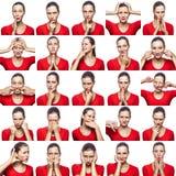 Mozaïek van vrouw met sproeten die verschillende emotiesuitdrukkingen uitdrukken De vrouw met rode t-shirt met 16 verschillende e Stock Afbeeldingen