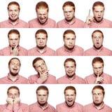 Mozaïek van zakenman die verschillende emoties uitdrukken De gebaarde zakenman met rood wit overhemd met 16 verschillende emoties Royalty-vrije Stock Afbeelding
