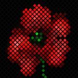 Mozaïekachtergrond met rode papaverbloem royalty-vrije illustratie
