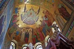 Mozaïeken binnen de Kerk van de Verlosser op Gemorste B Stock Fotografie