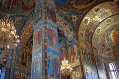 Mozaïeken binnen de Kerk van de Verlosser op Gemorste B Stock Foto's