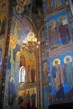 Mozaïeken binnen de Kerk van de Verlosser op Gemorste B Stock Foto