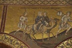Mozaïeken die verhaal van thervlucht tonen aan Egypte door de Heilige Familie royalty-vrije stock afbeeldingen